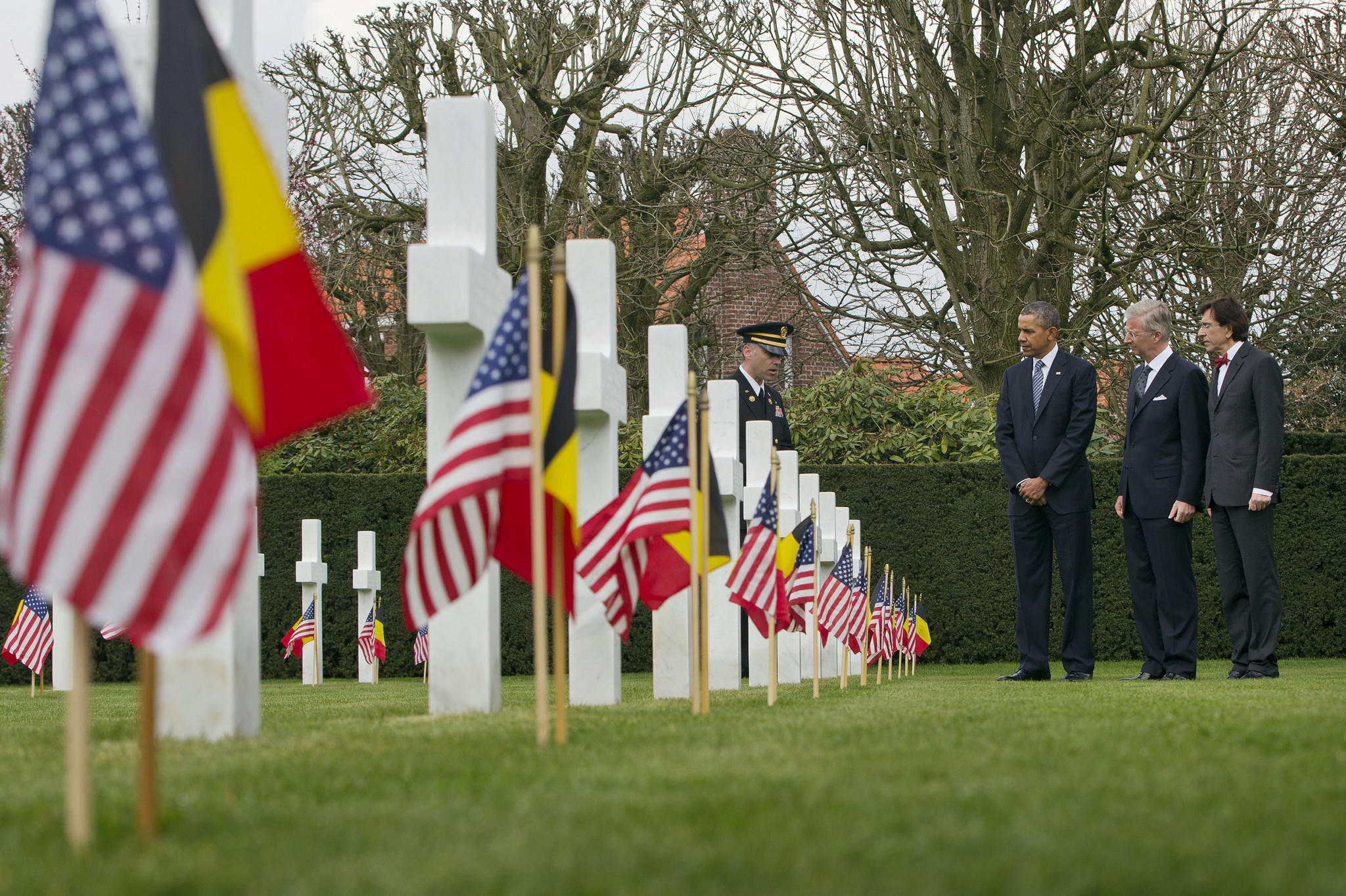 President Obama tours the American cemetery at Flanders Field with Belgian King Philippe and Belgian Prime Minister Elio Di Rupo.