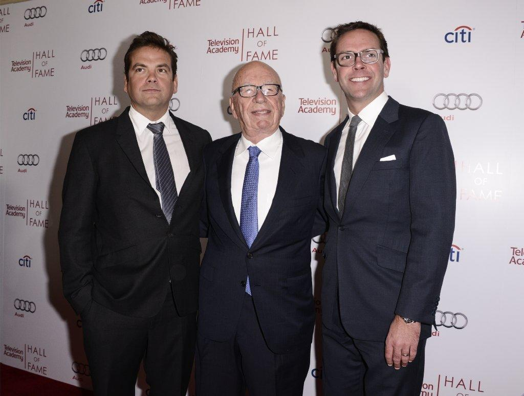 Rupert Murdoch with sons Lachlan, left, and James.