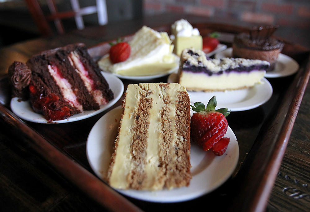 The dessert tray with various cakes at the Black Trumpet in Huntington Beach.