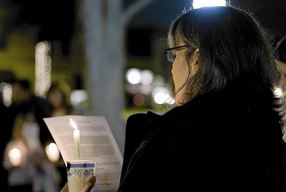 Barbara English at a candlelight vigil in 2007 about Darfur.