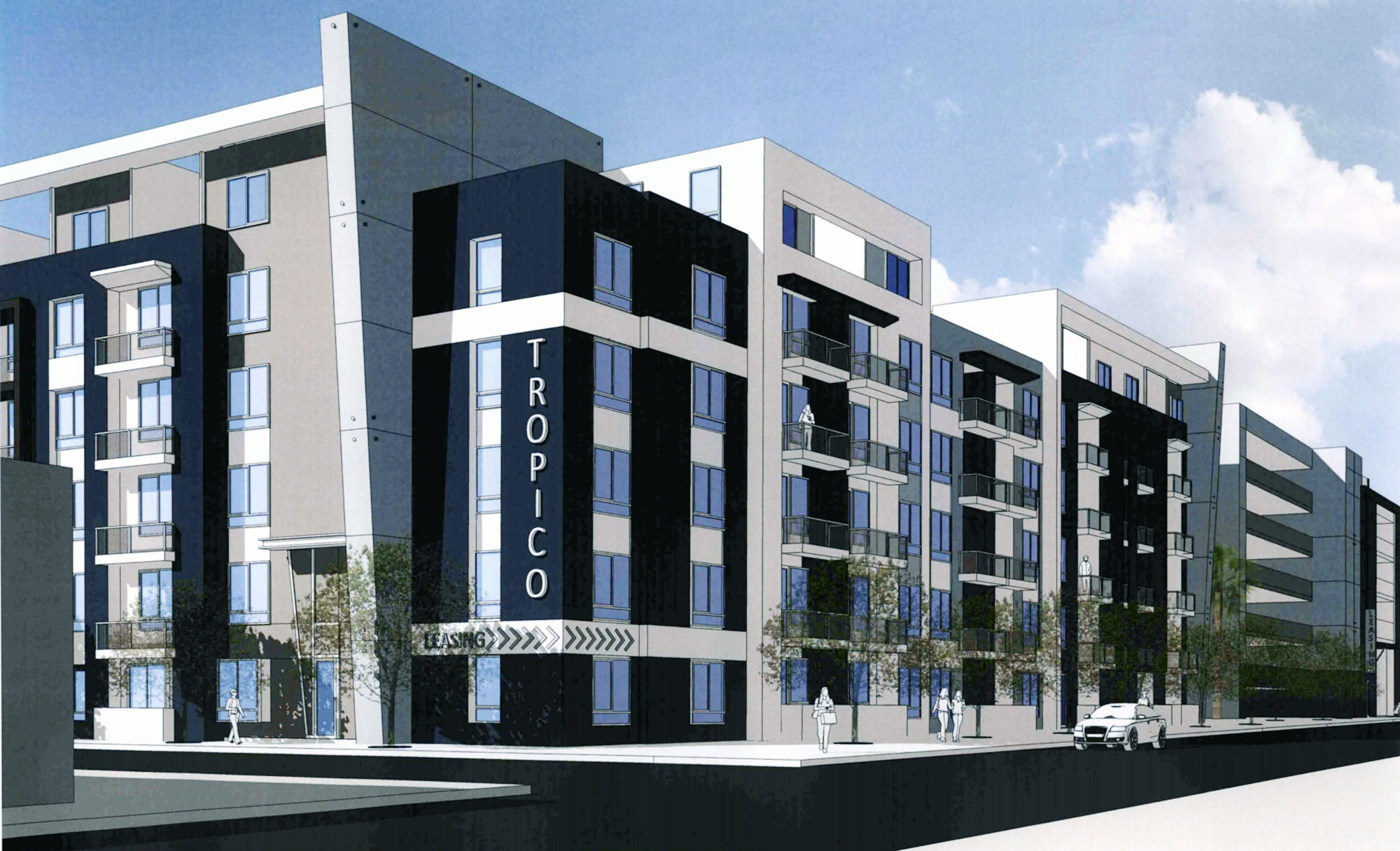 An architect's rendering of the Tropico Apartments project on Los Feliz Road.