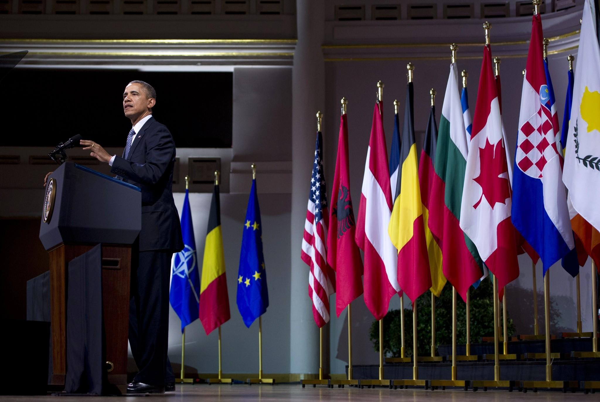 President Obama delivers a speech at the Palais des Beaux-Arts in Brussels.