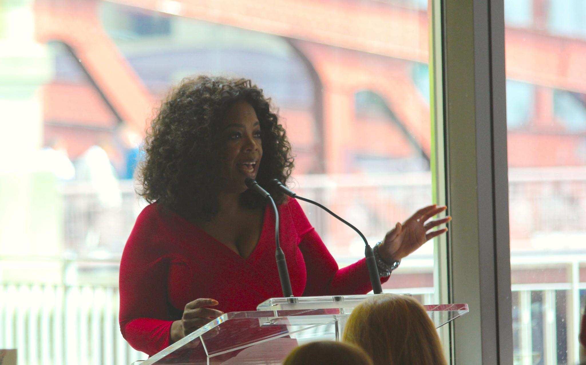 "Former talk show host Oprah Winfrey addresses ""O"" magazine's top advertisers during a luncheon at Chicago Cut Steakhouse Sept. 19, 2013."
