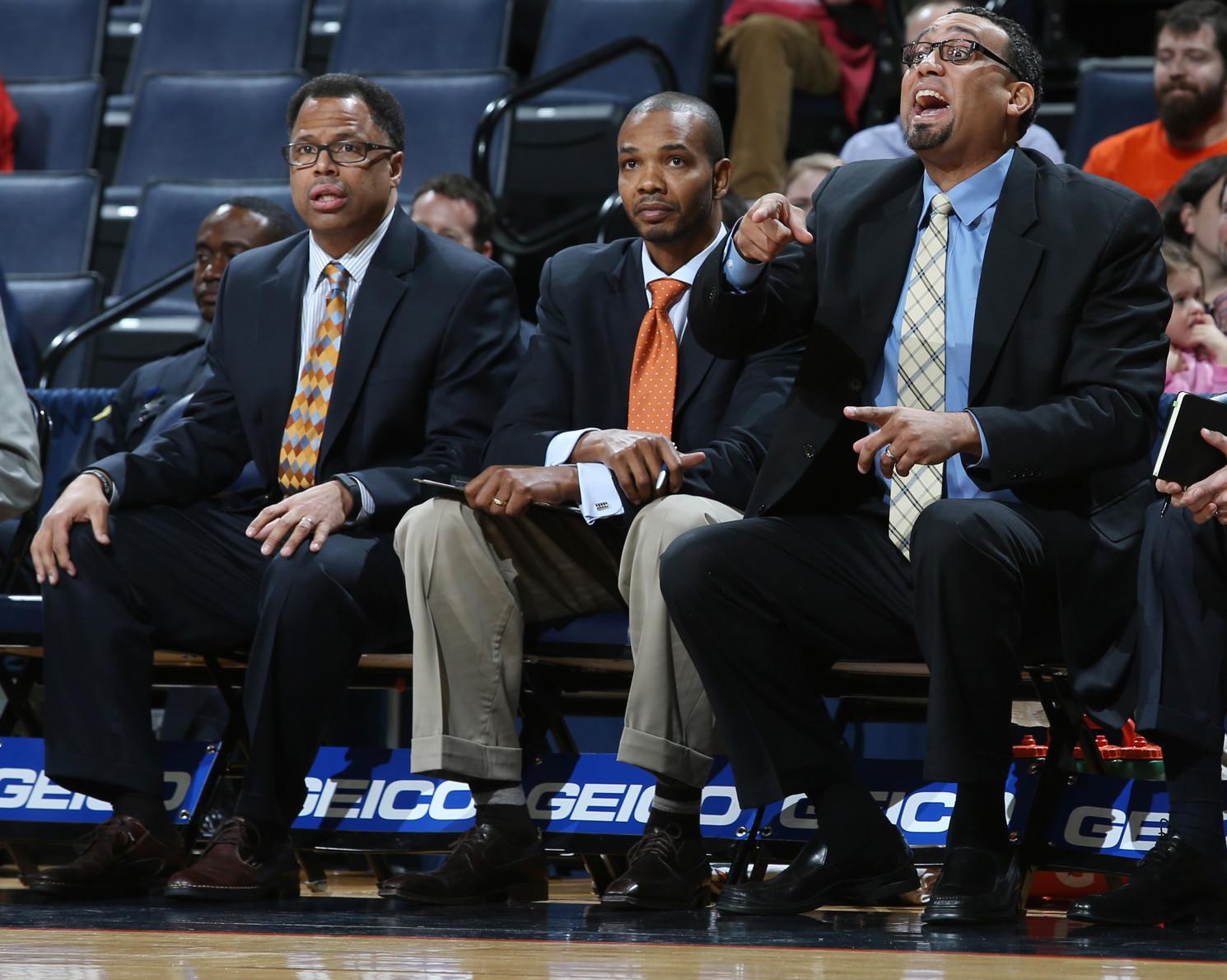 Virginia's assistant coaches, from left: Ritchie McKay, Ron Sanchez, Jason Williford