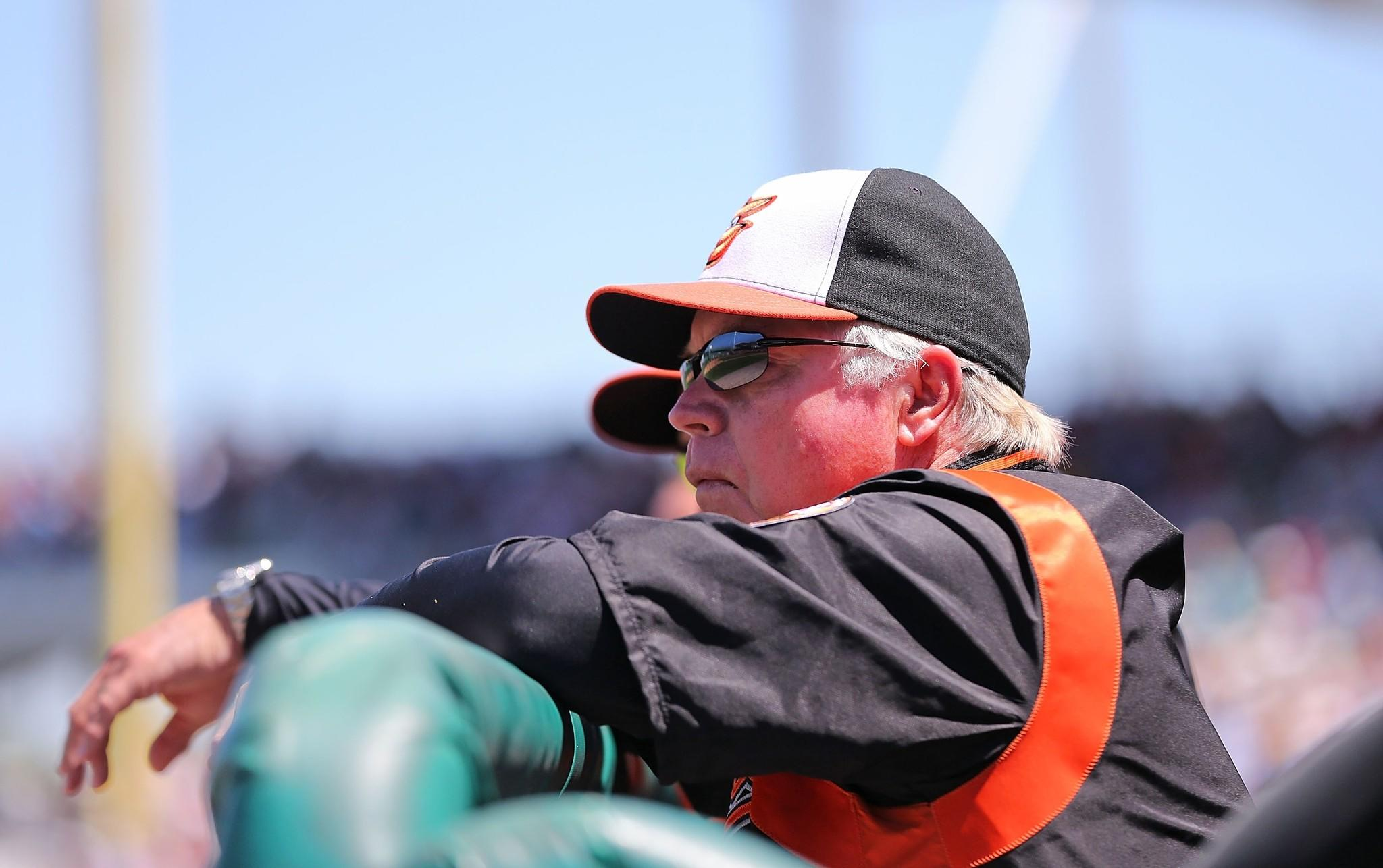 Orioles manager Buck Showalter watches the action during a game against the Boston Red Sox at JetBlue Park.