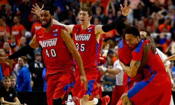 Dayton players celebrate