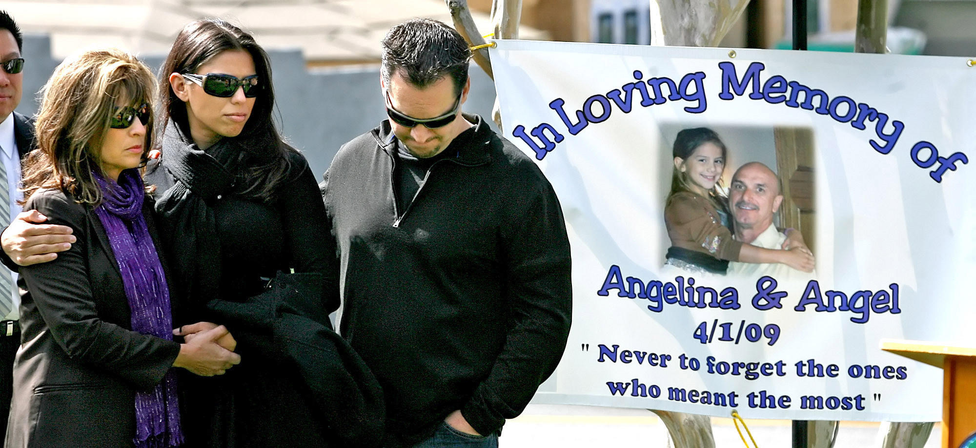From left, Yanette Posca, her daughter Gianna Cereghino and daughter's husband Joe Cereghino during a memorial service to dedicate a rose garden for Posca's husband and youngest daughter at Glenola Park in La Cañada Flintridge on Thursday, April 1, 2010, on the 1-year anniversary of a fatal multi-vehicle crash caused by a runaway big rig on Angeles Crest Highway at Foothill Blvd. that took the lives of Posca's husband Angel and daughter Angelina, who was 12 when she died. A private service will be held to mark the five-year anniversary next week.