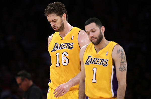 The futures of Lakers veterans Pau Gasol (16) and Jordan Farmar (1) are in doubt as the season winds down. Gasol because of his potentially hefty salary and Farmar because of recurring injuries.