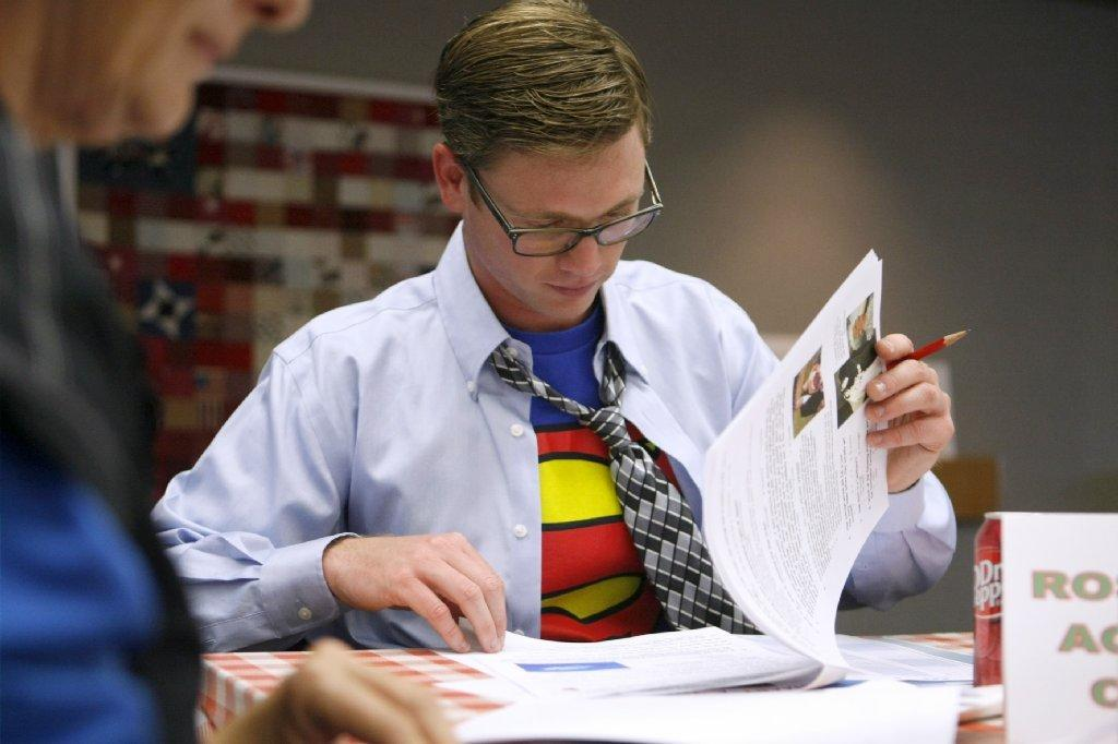 Dressed in a Superman T-shirt, Tim Unger from the Rose Bowl Aquatics Center participates in the Verdugo Hills Hospital's annual trivia fundraiser,