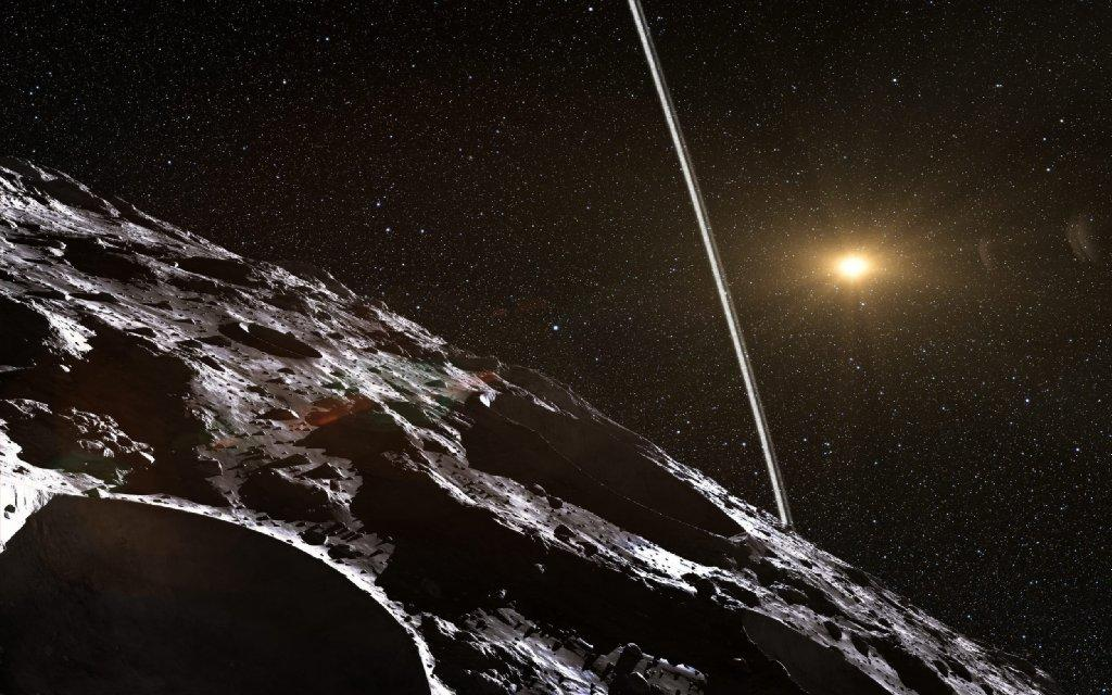 This artist's impression illustrates how the rings surrounding the Chariklo might look from the asteroid's surface.