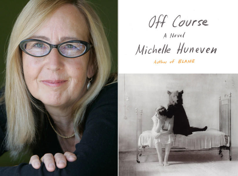 "Author Michelle Huneven and the cover of her novel, ""Off Course."""
