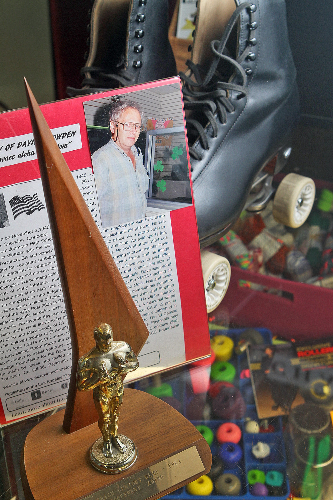 A memorial to David Snowden at Moonlight Roller Way in Glendale on Thursday, March 27, 2014. Snowden died recently, but when alive, he was a regular skater, contest judge, and competitive skater.