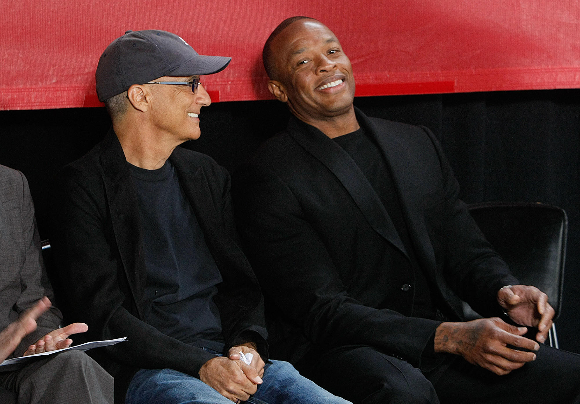 Music mogul Jimmy Iovine, left, and rapper Dr. Dre are all smiles during an announcement in Santa Monica in 2013 that they were giving $70 million to create the USC Jimmy Iovine and Andre Young Academy for Arts, Technology and the Business of Innovation.