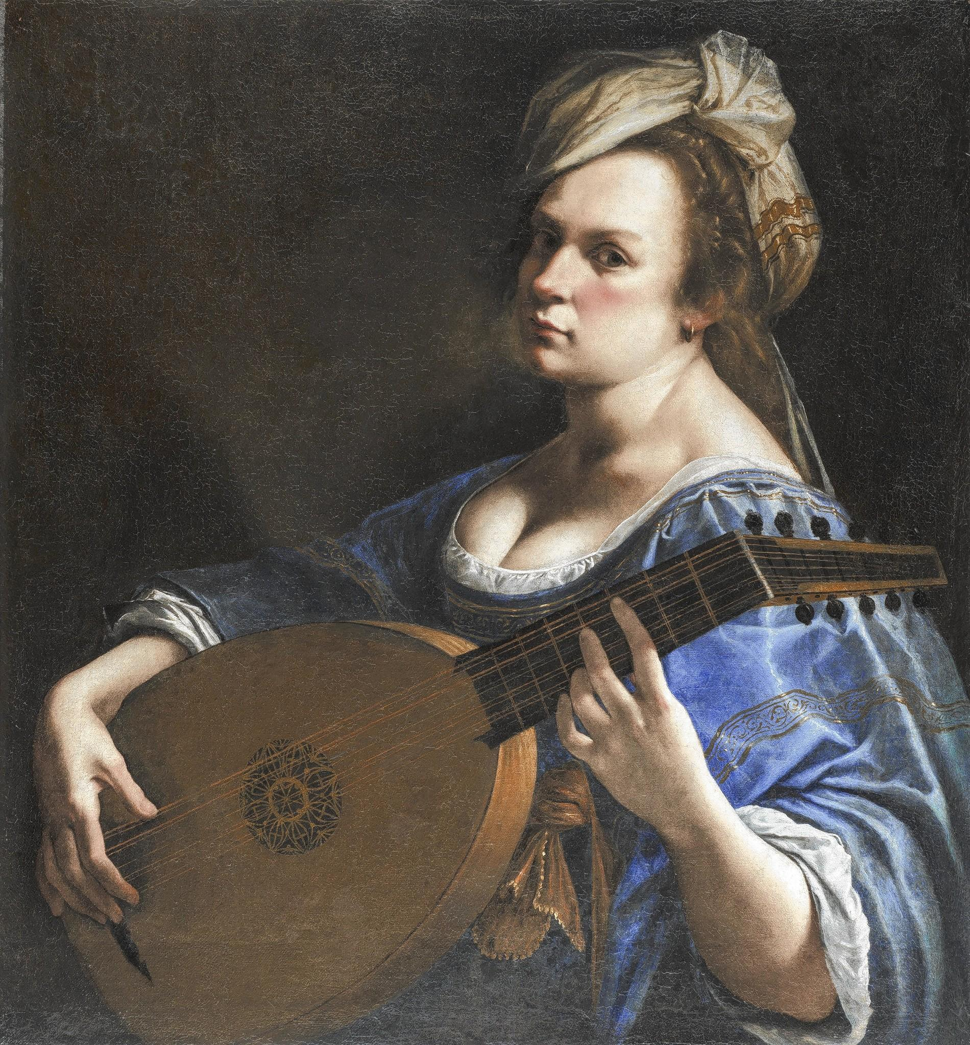 Artemisia Gentileschi's Self-Portrait as a Lute Player, c. 1616-18, oil on canvas, Wadsworth Atheneum Museum of Art, Charles H. Schwartz Endowment Fund, 2014.4.1
