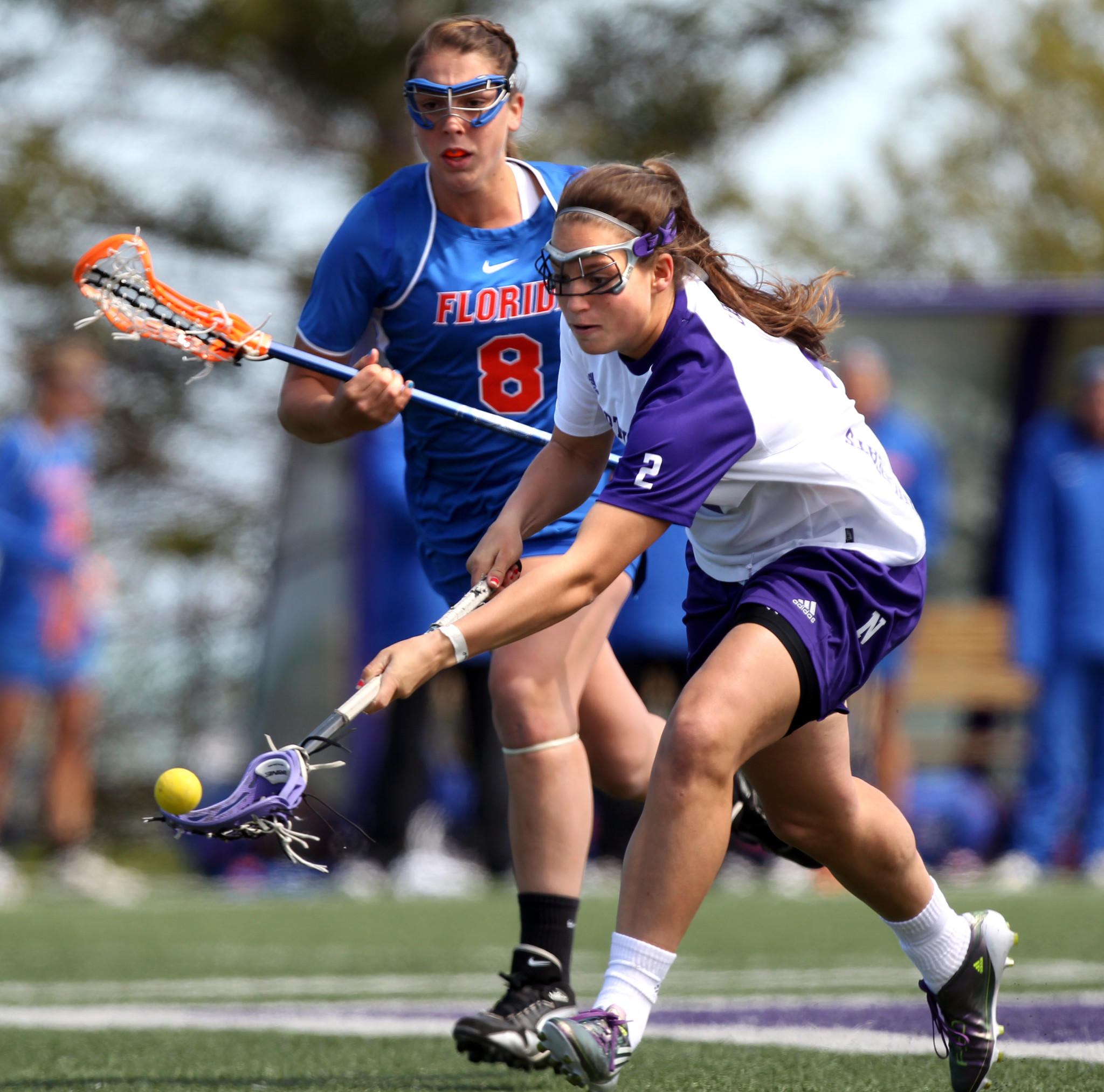 Alyssa Leonard scoops a loose ball during the 2012 season.