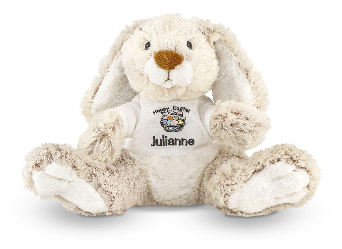From Melissa & Doug, this plush bunny (for all ages) comes with a removable T-shirt that you can put the name of your child on. $14.99. Information: