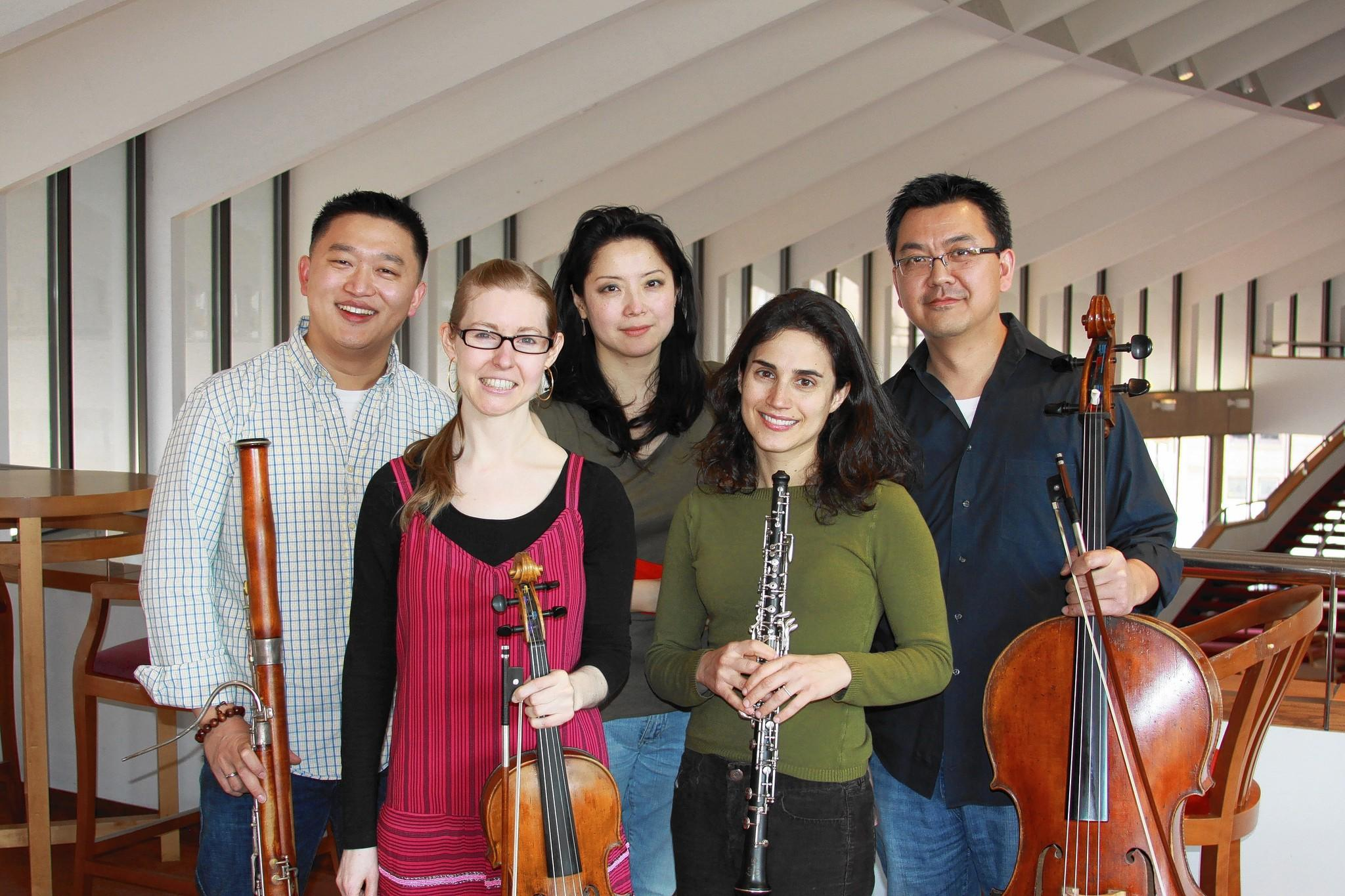 Members of the Baltimore Synmphony Orchestra performing at the upcoming Sundays at Three chamber music concert are, from left, Fei Xie,  Karin Brown, Qing Li, Katherine Needleman and Bo Li.