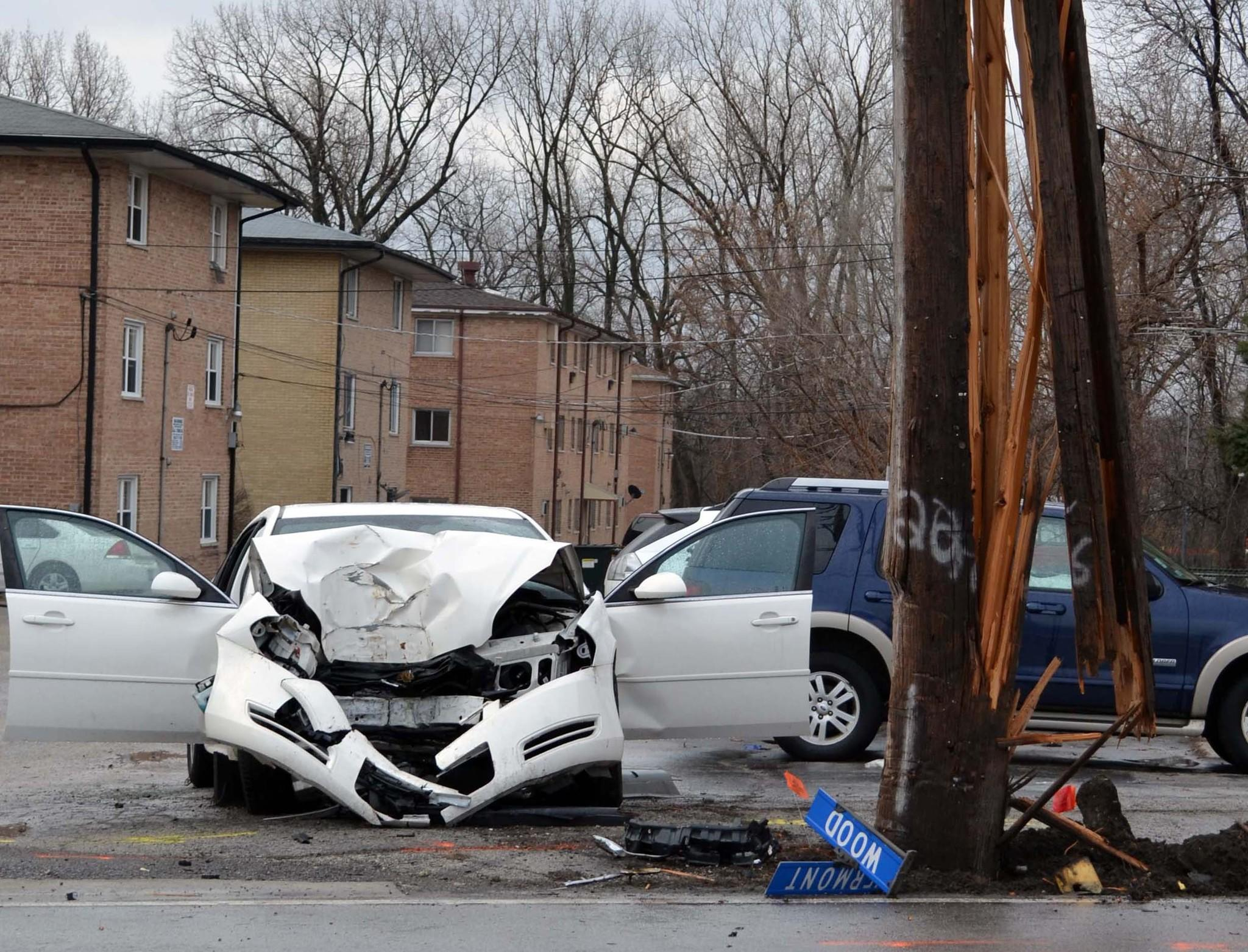One person was injured when a car crashed into a pole near Vermont and Wood streets in south suburban Blue Island.