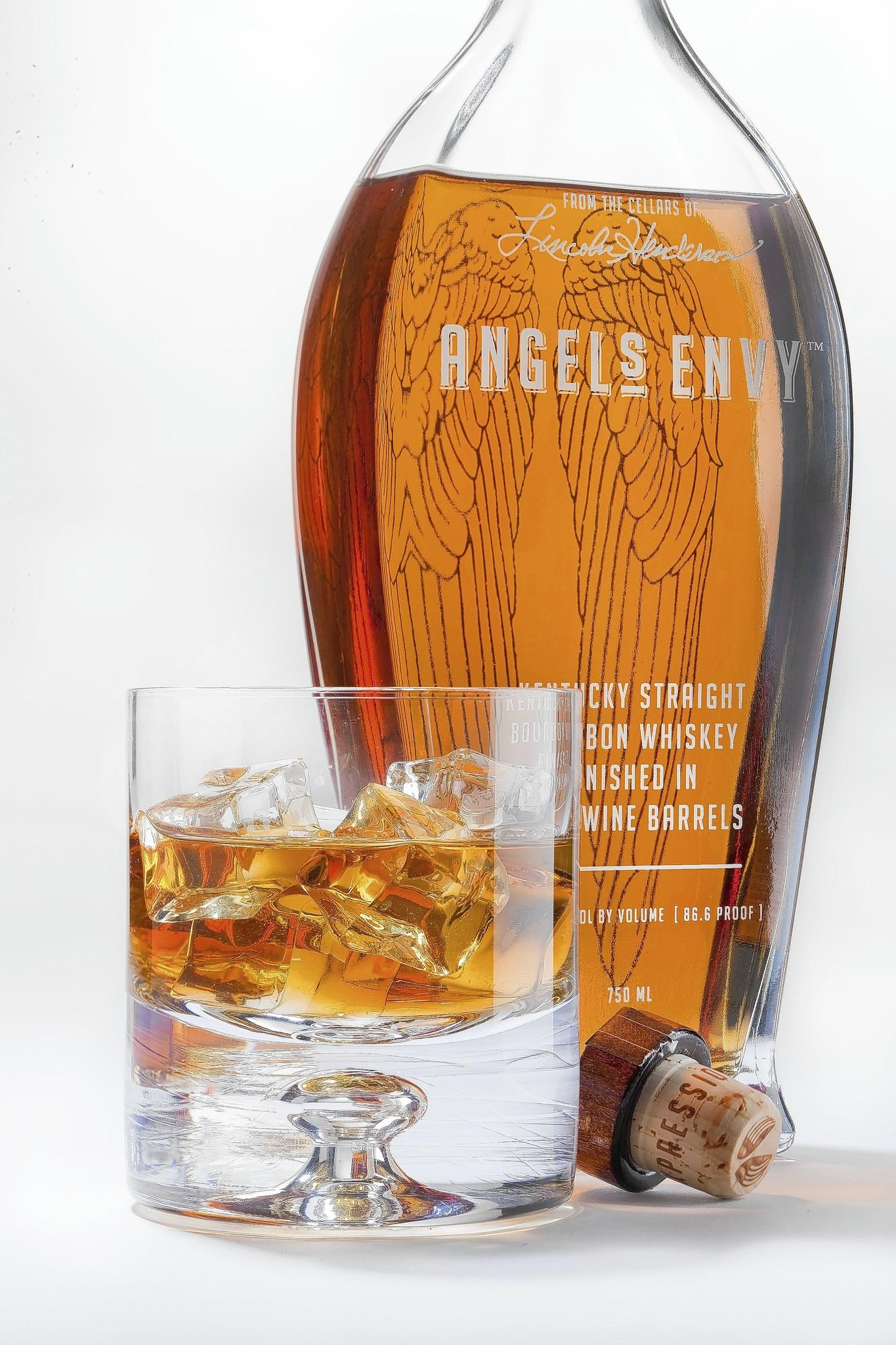A bottle of Angel's Envy whiskey.