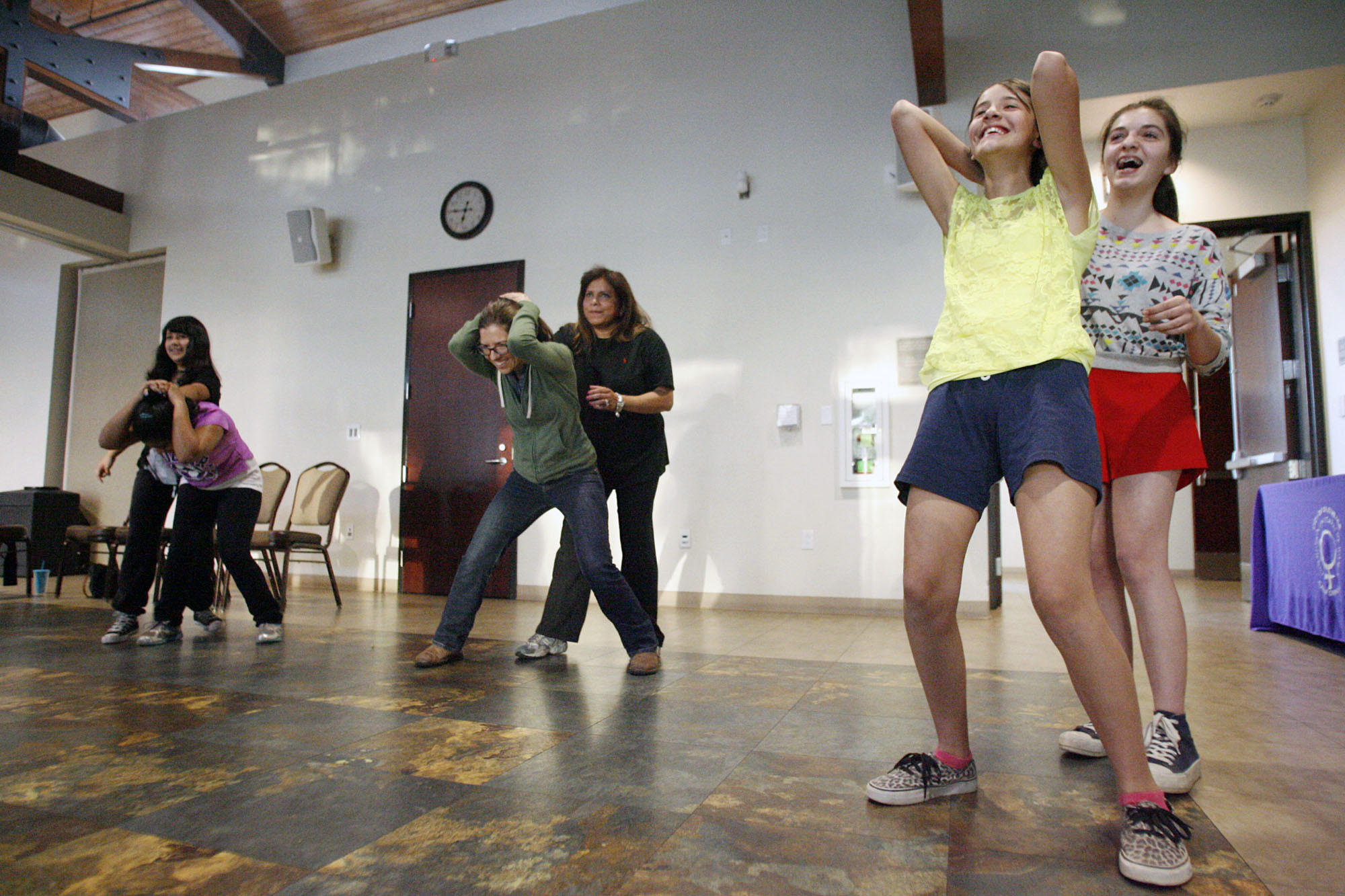 For years, Glendale's Commission on the Status of Women has hosted self-defense classes in April on city property for women and girls in honor of Sexual Assault Awareness Month, but this year, the National Coalition of Men has written to the city requesting males be permitted to attend the class, too. Pictured in last year's class are Alexandra Melkonians, 12, from left, Candice LeFranc, 11, Cassandra Pruett, Candice's mother, Ligia, Maritza Gonzalez, 12, and Dariana Peraza, 13, at the Adult Recreation Center in Glendale.