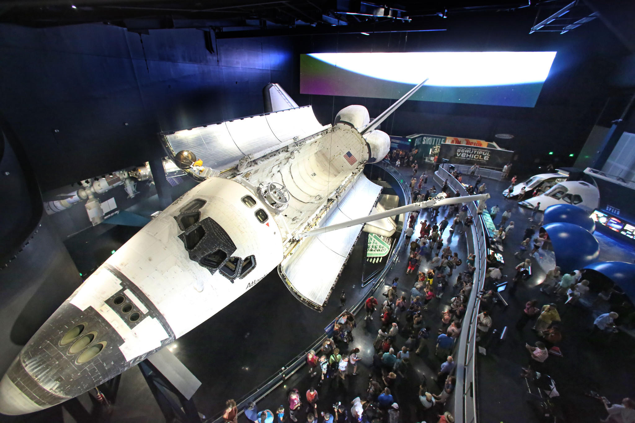 Atlantis, the orbiter that made the final flight of NASA's shuttle program, in the new $100-million home created for it at the Kennedy Space Center Visitor Complex.