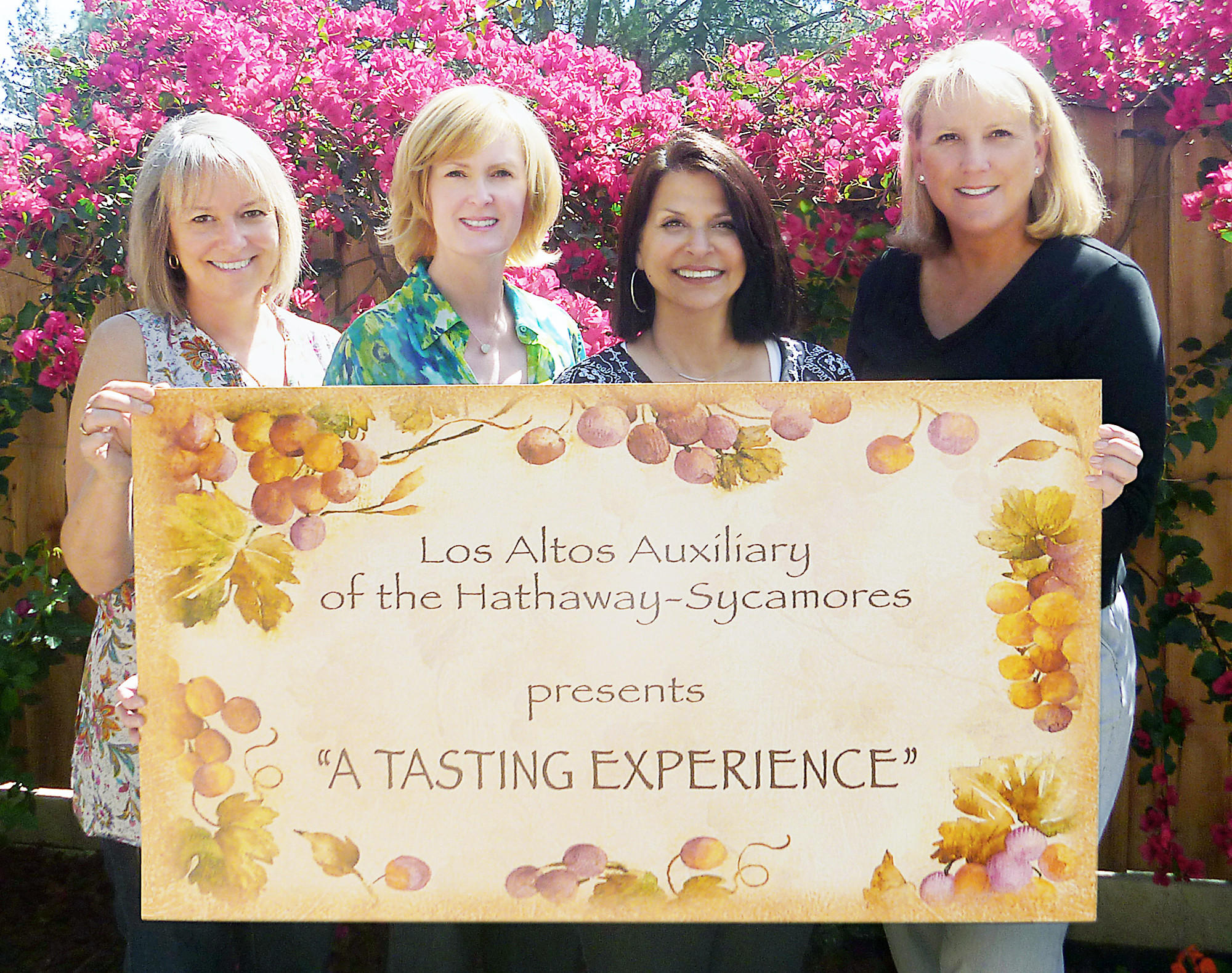 The Los Altos Auxiliary of Hathaway-Sycamores Child and Family Services is planning its annual wine-tasting fundraiser, which will take place April 27. La Cañada residents looking forward to the event are, from left, Laurie Rodli, co-president of Los Altos, Diane Poryes co-chair of Wine Tasting event, Michele Listo co-chair of Wine Tasting event, and Jennifer Herzer, co-president of Los Altos.