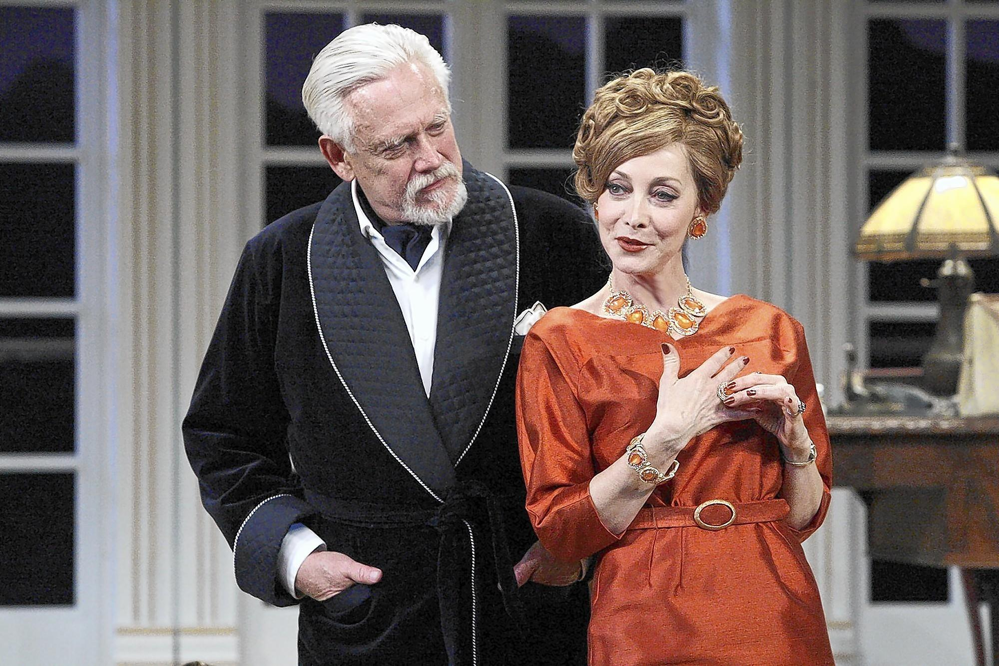 "Bruce Davison and Sharon Lawrence in a scene from Noel Coward's ""A Song for Twilight"" now at the Pasadena Playhouse."