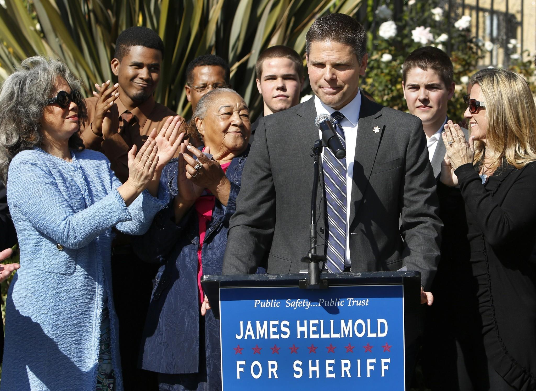 James Hellmold announces his candidacy for L.A. County sheriff in Los Angeles in January.
