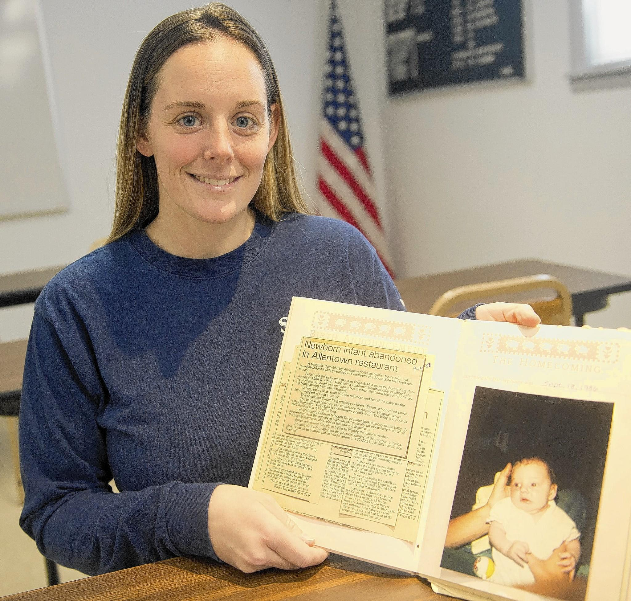 Katheryn Deprill's parents gave her a memory book full of keepsakes from her infancy -- including the police report about her abandonment at a Burger King by her birth mother. Deprill, 27, finally met her birth mother last week.