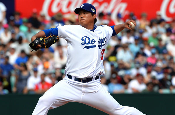 Left-hander Hyun-Jin Ryu will start on Sunday when the Dodgers resume the season against the Padres in San Diego.