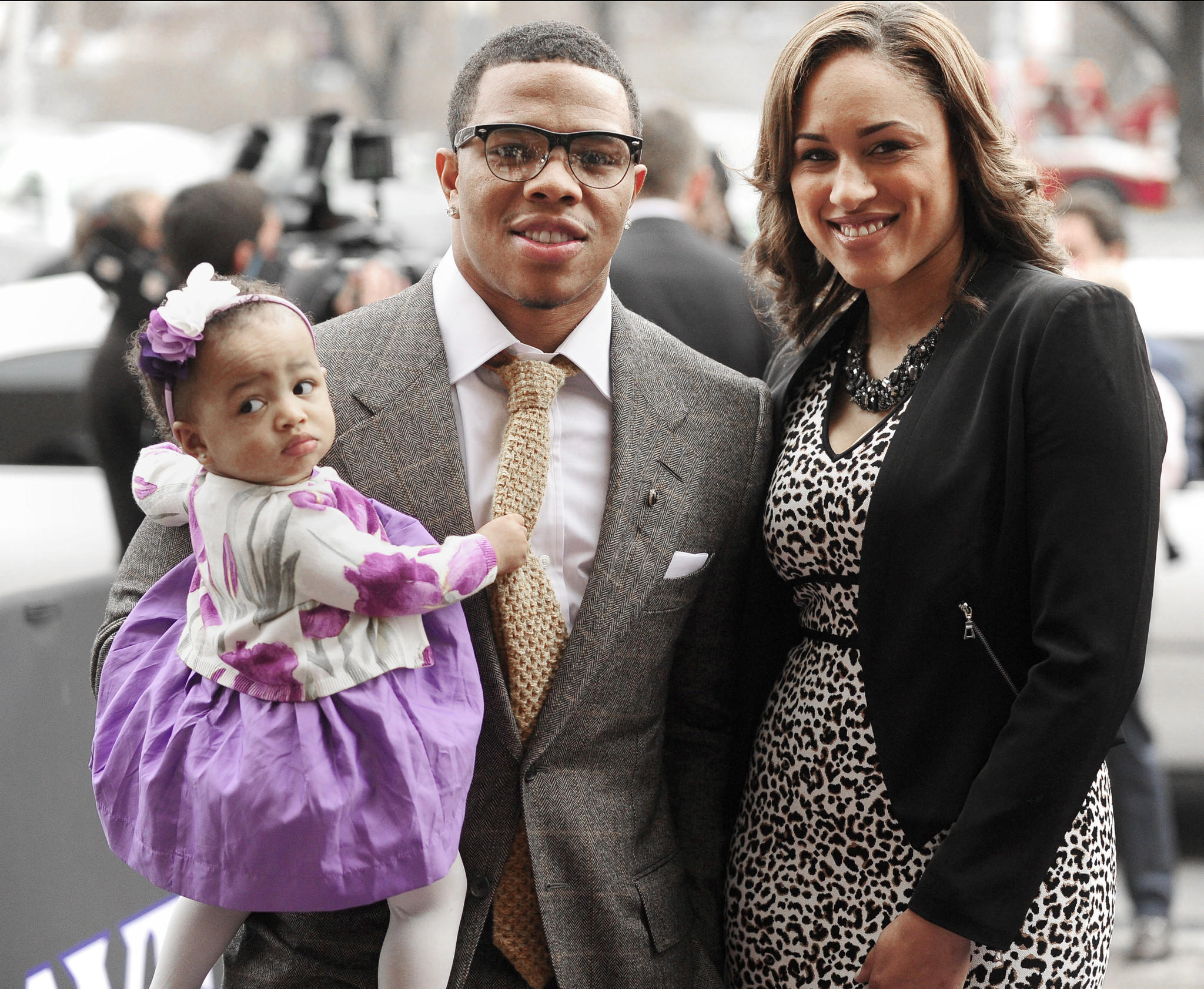 Ray Rice is shown with daughter Rayven and Janay Palmer at The Lyric in this Sun file photo.