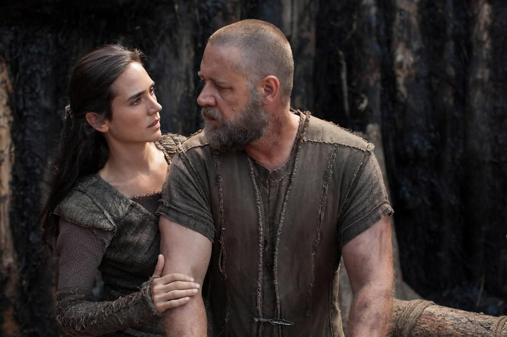 "Jennifer Connelly is Naameh and Russell Crowe is Noah in ""Noah."""