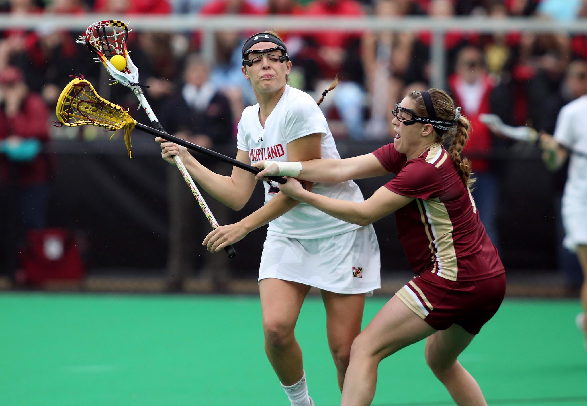 Boston College defender Stephanie Sabatini (right) plays solid defense against Maryland midfielder Taylor Cummings.