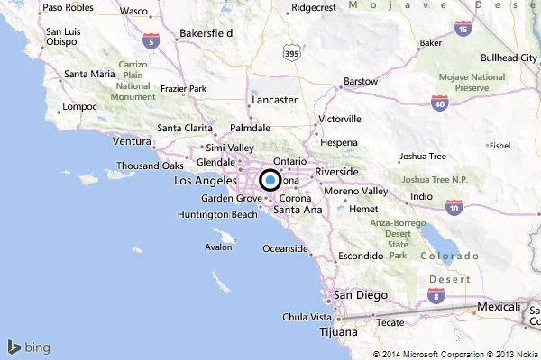 A map showing the location of the epicenter of Saturday afternoon's quake near Rowland Heights, California.