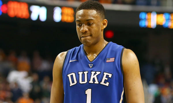 Duke's Jabari Parker walks off the court following the Blue Devils' loss to Virginia in the ACC tournament on March 16.