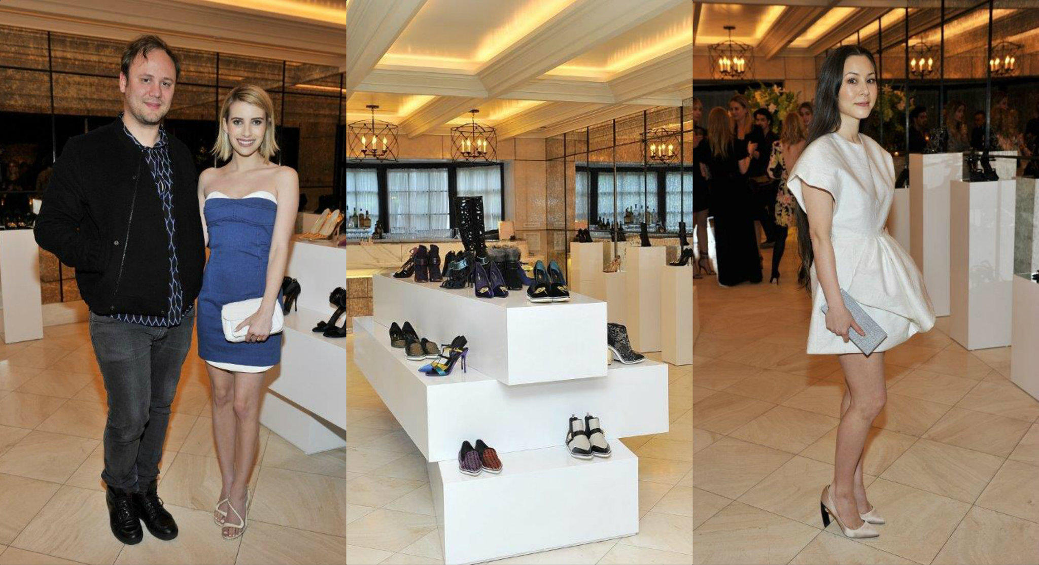 Emma Roberts and Jake Shears co-hosted a dinner in honor of Nicholas Kirkwood at Hotel Bel-Air in Los Angeles. From left, shoe designer Nicholas Kirkwood and Emma Roberts; selections from Kirkwood's fall 2014 collection; China Chow.