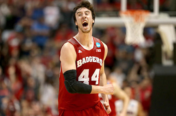 Wisconsin center Frank Kaminsky celebrates after making a three-pointer against Arizona in the second half of the West Regional final on Saturday night in Anaheim.