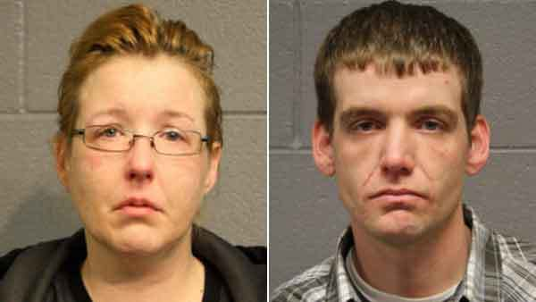 Booking photos of Sarah Doubek and Brian O'Connor (from left)