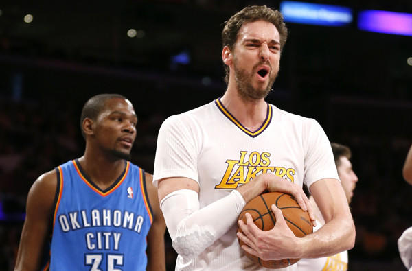 Pau Gasol reacts after a foul was called against a Lakers teammate during a game this month against the Thunder.