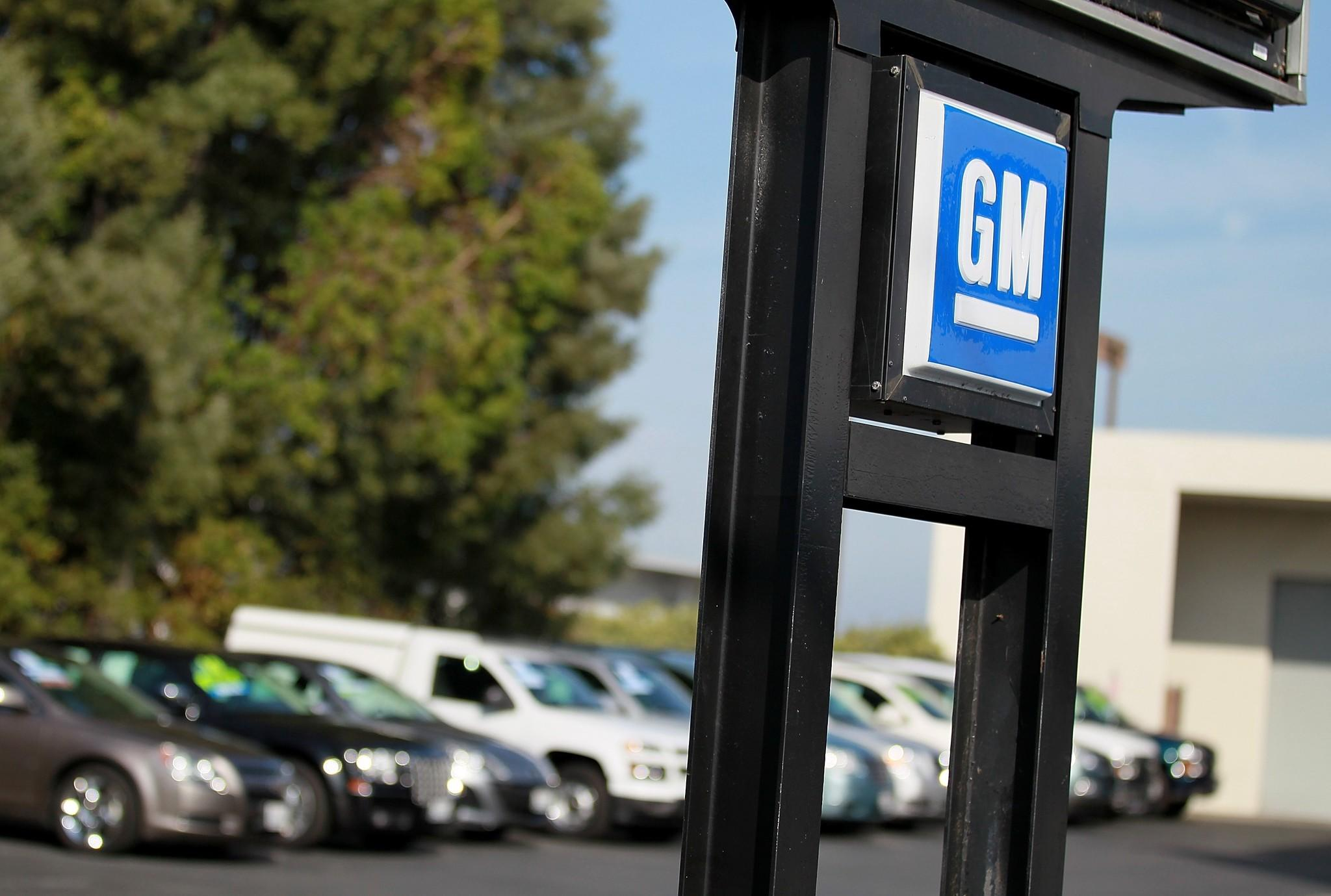 The General Motors logo is displayed at Boardwalk Chevrolet in Redwood City, Calif.