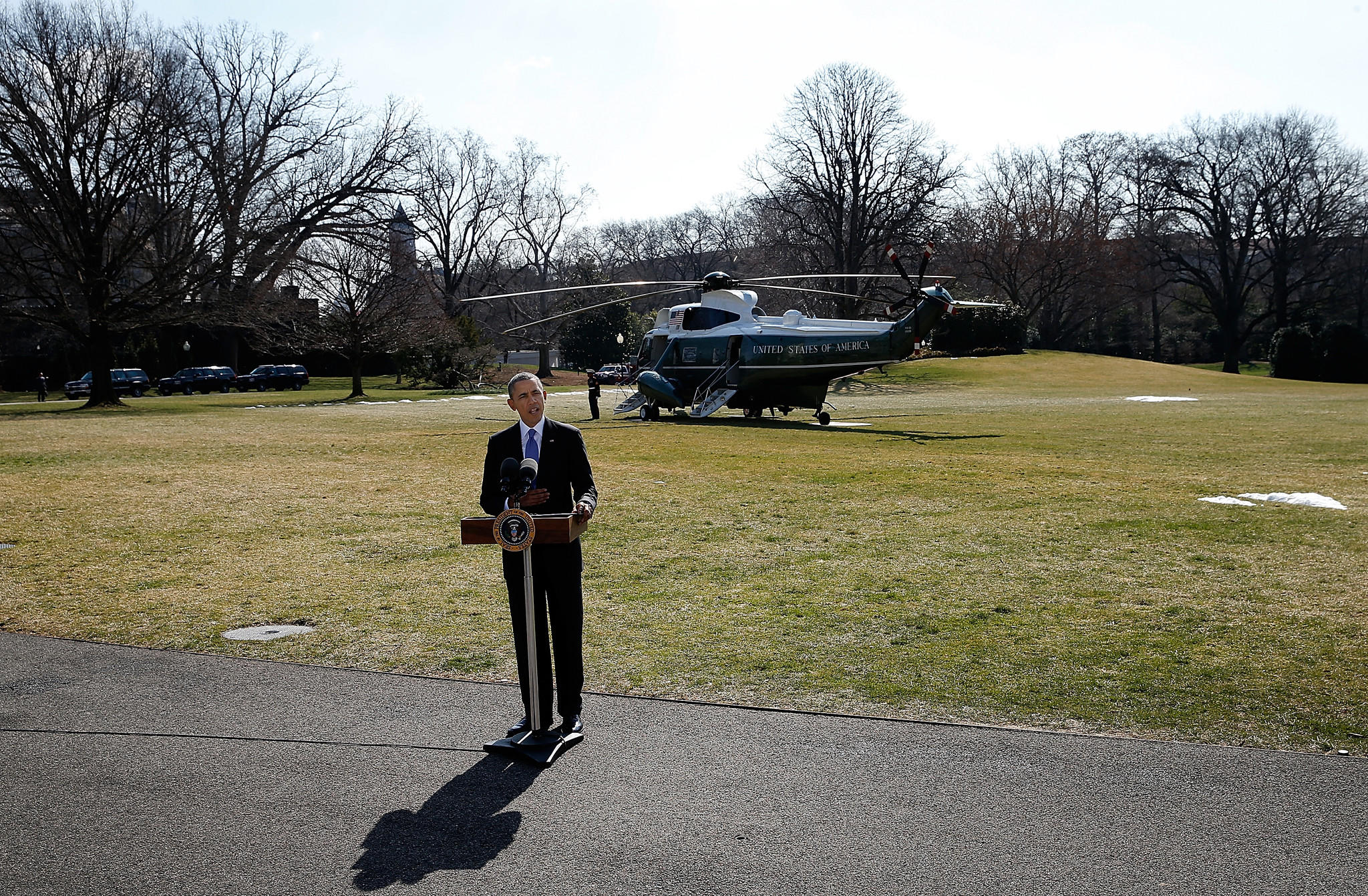 President Barack Obama speaks on the South Lawn of the White House to deliver a statement on Ukraine prior to departing for Florida.