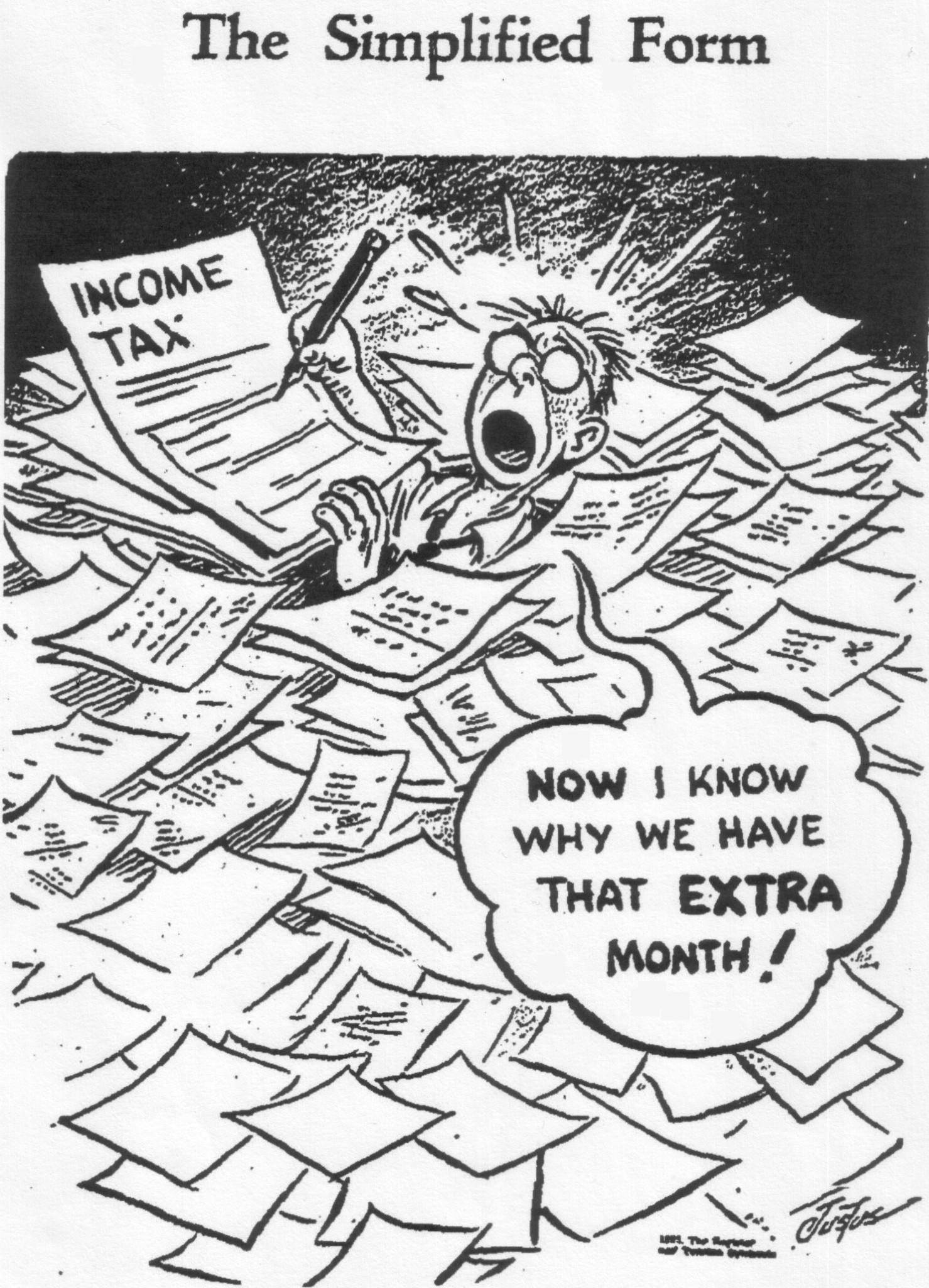 """Starting in 1918, the date for filing the annual federal income tax was set at March 15. """"Beware the Ides of March"""" was the quip for several decades. But in 1955, the Internal Revenue Service, claiming it wanted to """"spread out the peak workload,"""" switched the date to April 15, where it is now. This cartoon depicts a hapless taxpayer struggling to get through a mountain of tax-related paperwork despite the brand-new extension of the deadline by a month."""