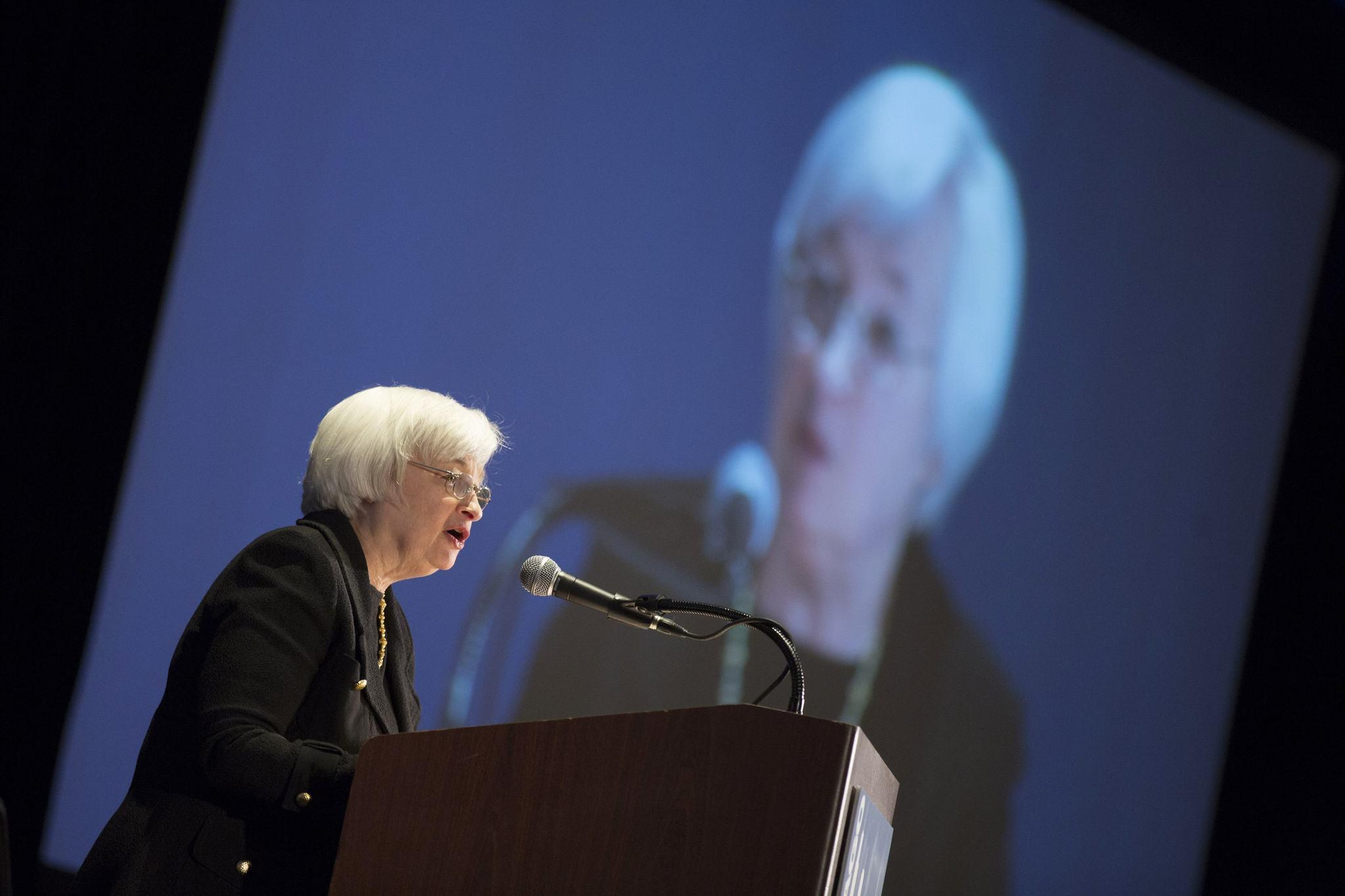 Federal Reserve Chair Janet Yellen speaks at the 2014 National Interagency Community Reinvestment Conference in Chicago, March 31, 2014.