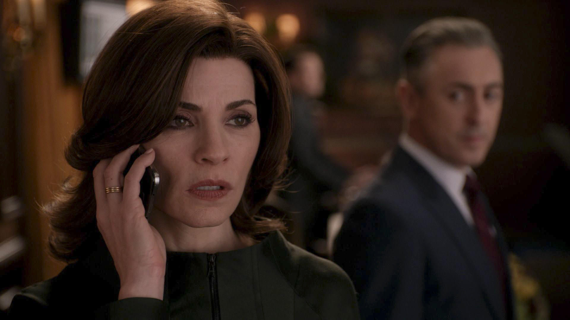 "Julianna Margulies and Alan Cumming in ""The Good Wife."""