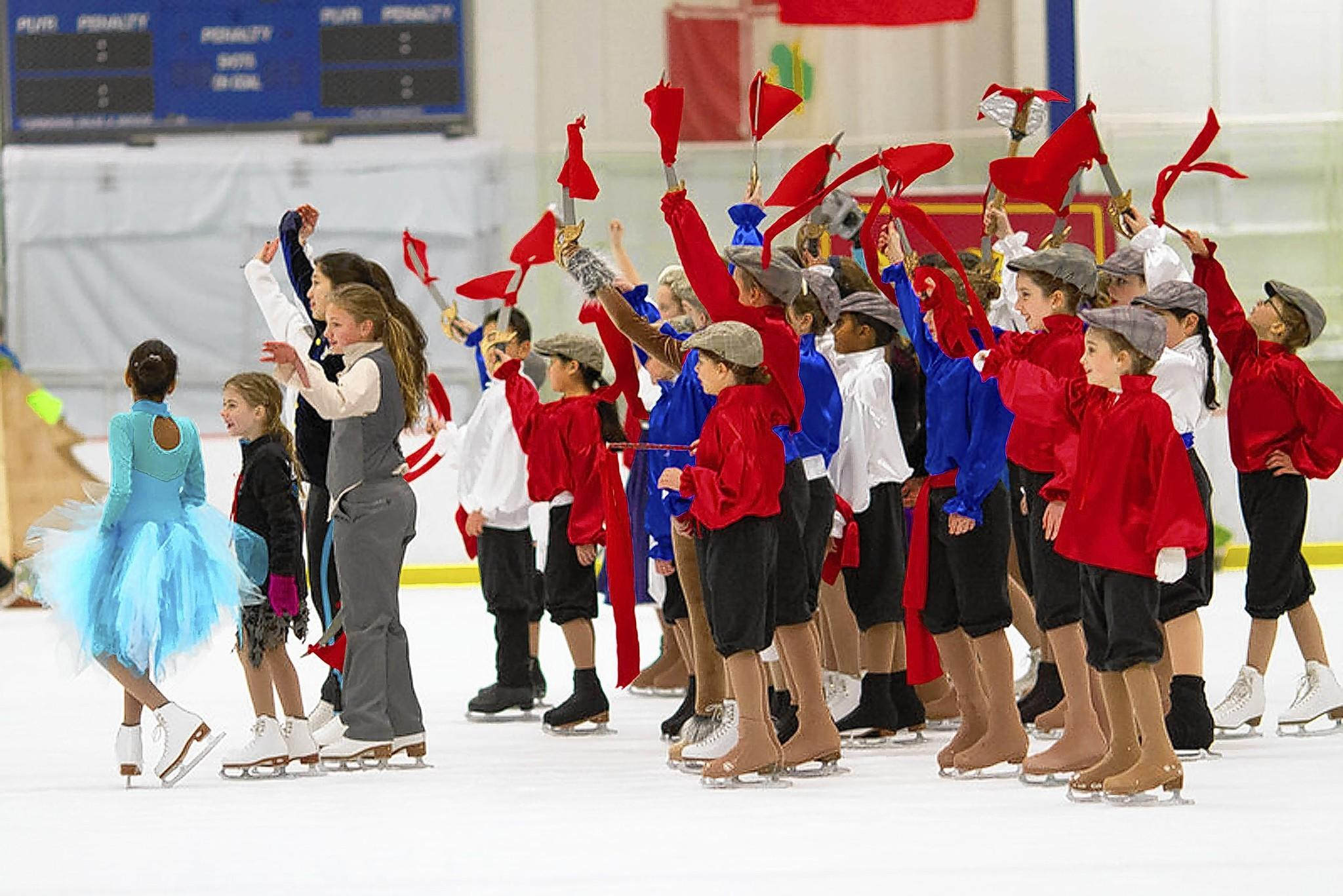 "Young cast members rehearse for ""Frozen in Time"" by the Columbia Figure Skating Club."