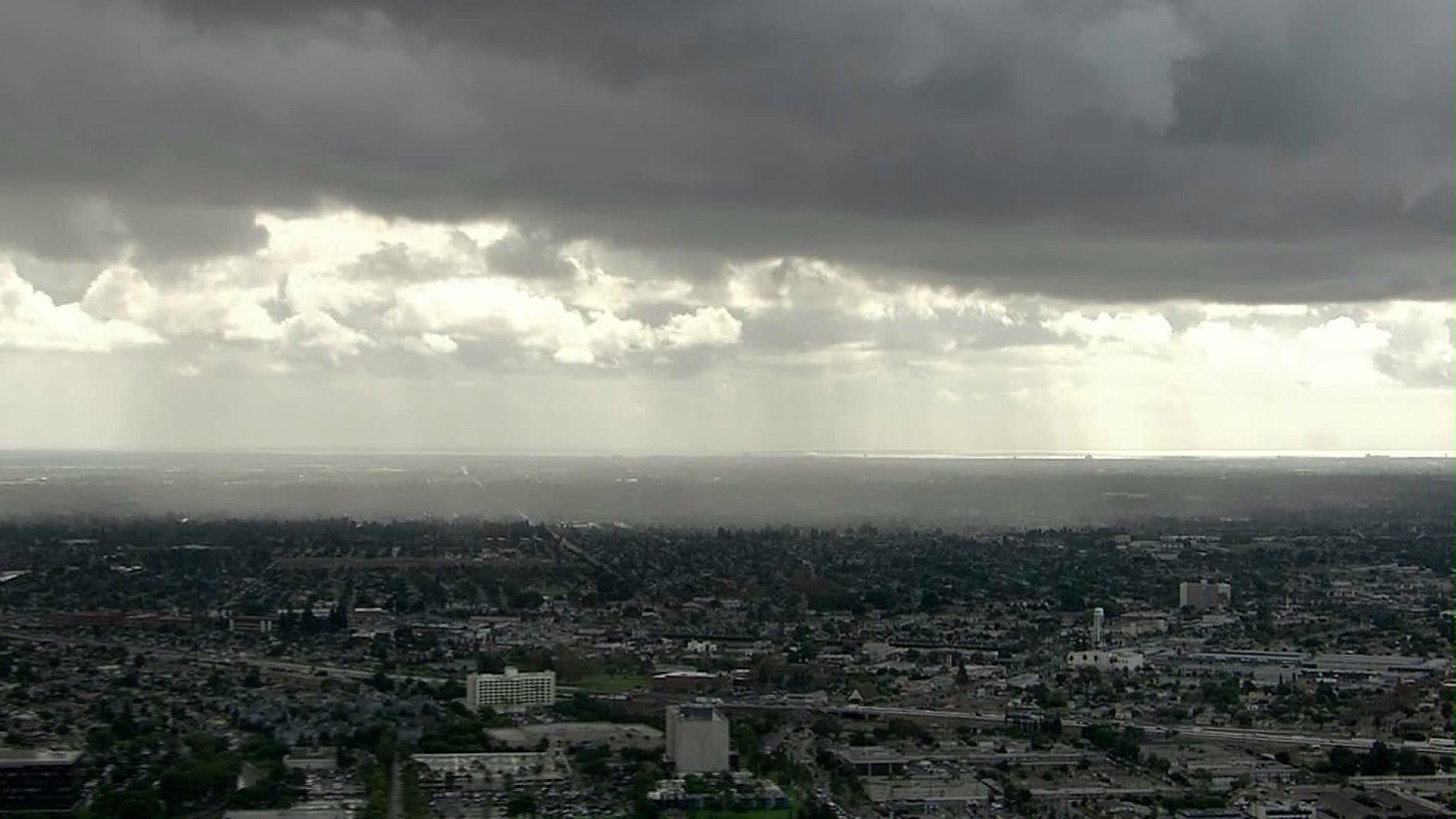 Storm clouds loom over Los Angeles