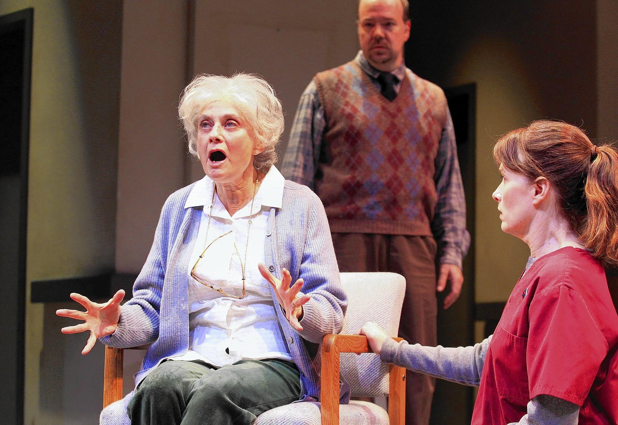 """Actors, counterclockwise from left, Lynn Milgrim, Sue Cremin and Rob Nagle during rehearsals for """"Rest"""" at South Coast Repertory on Wednesday."""