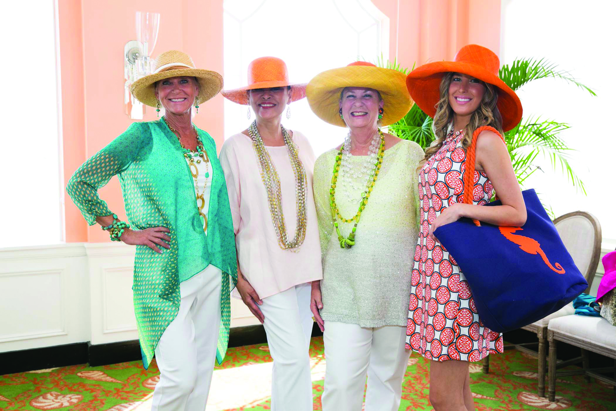 Society Scene photos - Cathy Divosta, left, Cecilia Briggs, Catherine Barrett and Nicole Arlitt wore fancy hats for the Palm Beach Chapter of the Daughters of the American Revolution
