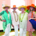 Cathy Divosta, left, Cecilia Briggs, Catherine Barrett and Nicole Arlitt wore fancy hats for the Palm Beach Chapter of the Daughters of the American Revolution's luncheon and fashion show, which recently took place at The Beach Club.