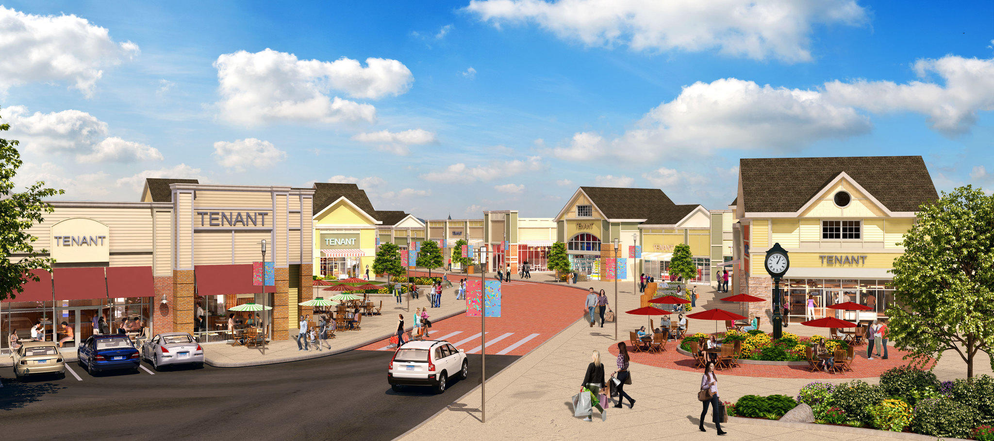 An artist's rendering of the proposed outlet mall in Cheshire.